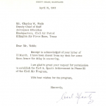 A letter from General Spaatz authorizing the use of his name on the highest Civil Air Patrol cadet award.